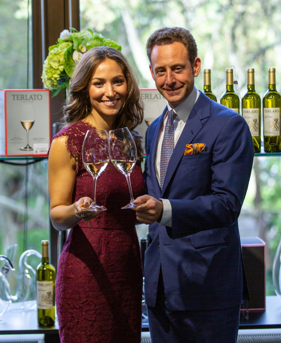 Elise Terlato and Maximilian Riedel with their new glass.