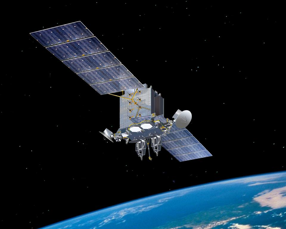 Artist's impression of an Advanced Extremely High Frequency (AEHF) satellite in orbit.