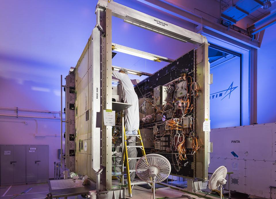 An Advanced Extremely High Frequency (AEHF) satellite is prepared for space.