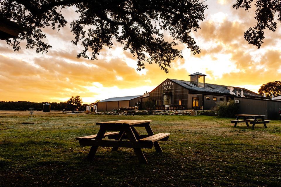 Sunset over Treaty Oak Ranch.