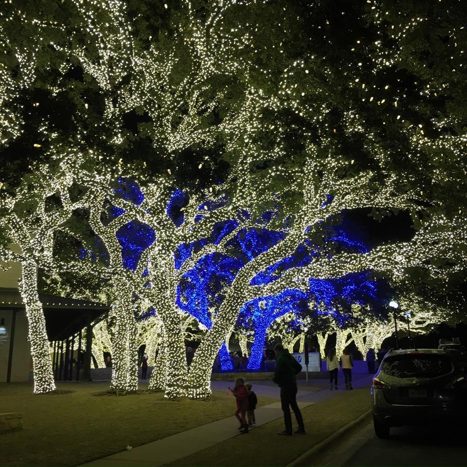 Enjoy a wonderland of blue and white lights in Johnson City.