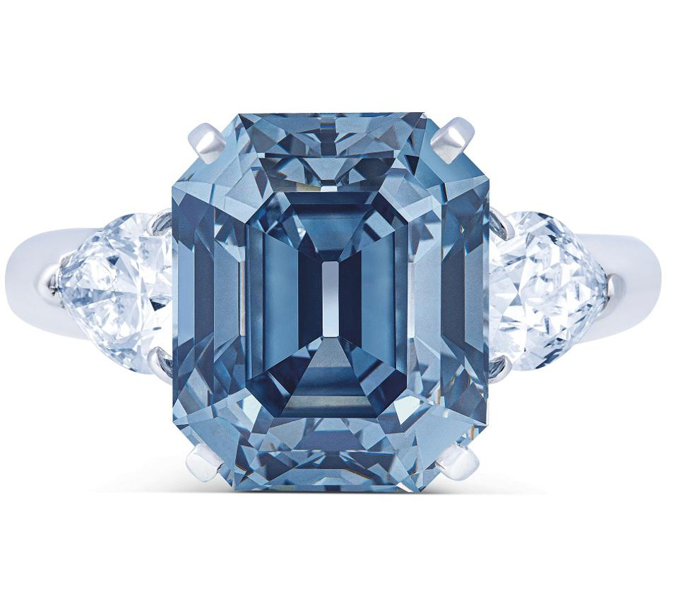 A 7.03-carat fancy deep blue diamond ring mounted by Moussaieff