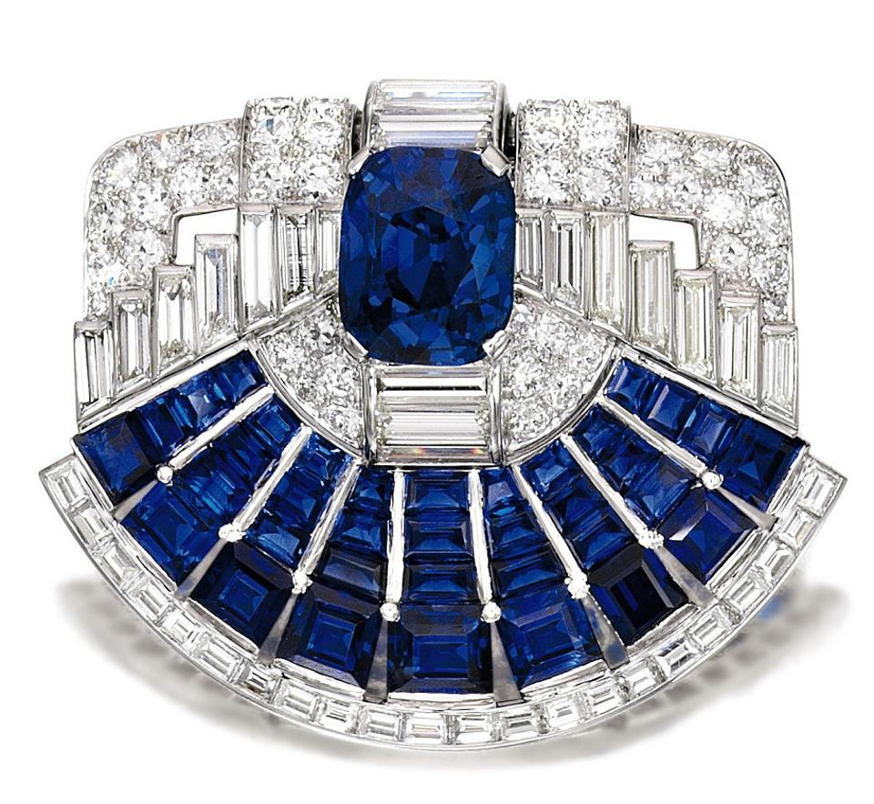 Sapphire and Diamond Brooch-clip, Cartier, 1937