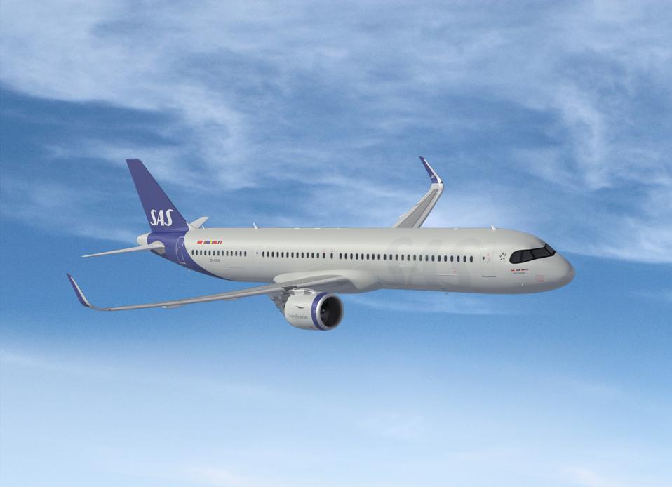 SAS Airlines A321LR (Long Range) aircraft.