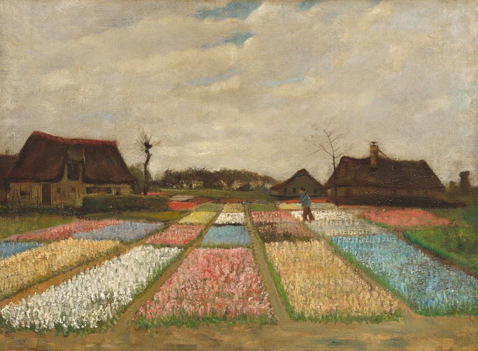 Vincent van Gogh, Dutch, 1853–1890, Flower Beds in Holland, c. 1883. Oil on canvas on wood, 48.9 x 66 cm (19 ¼ x 26 in.).