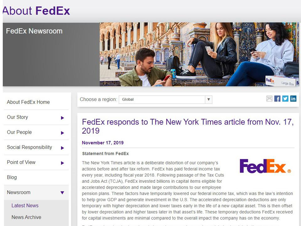 FedEx statement on The New York Times article.