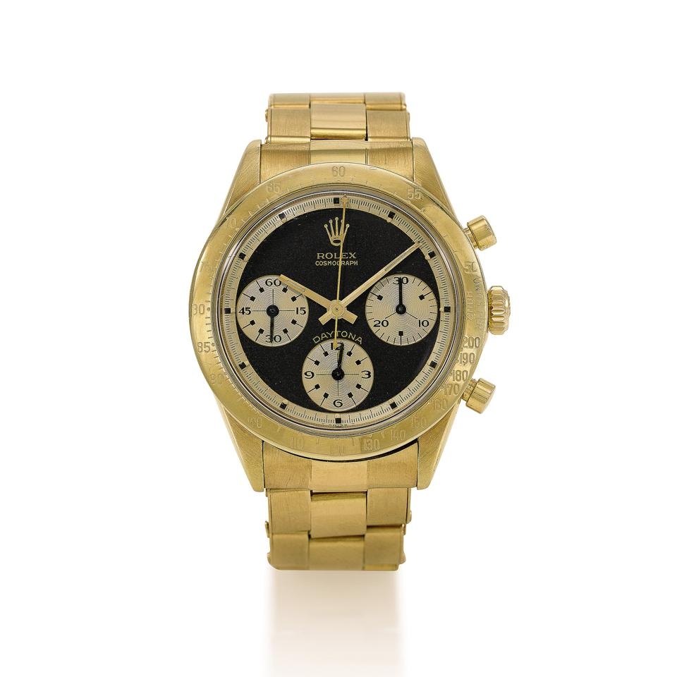1968 yellow gold Rolex Paul Newman Daytona Reference 6239, sold for $515,492