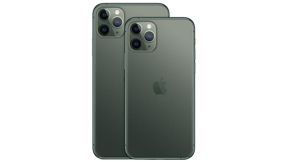Back of a Midnight Green iPhone 11 Pro on a white background.