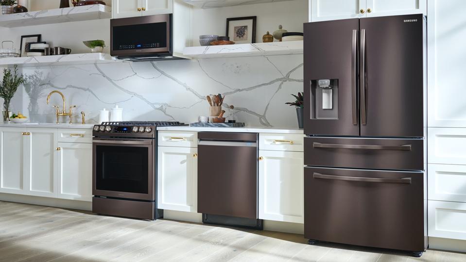 Samsung home appliances in a kitchen.