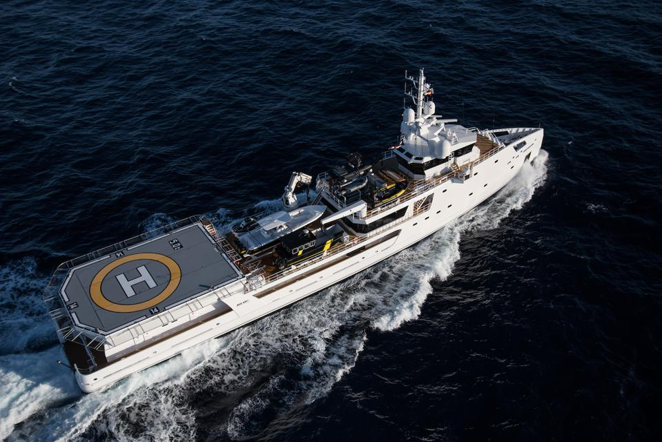 DAMEN Yacht Support vessel's can be built with large helicopter landing pads and protected helicopter storage.