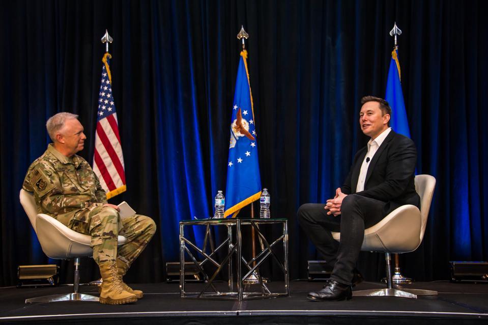 "Lt. Gen. John ""JT"" Thompson and Elon Musk"