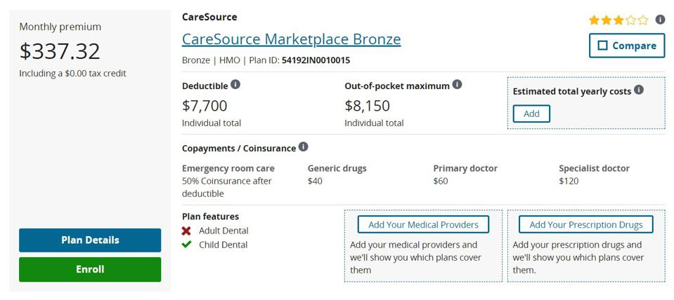 Bronze Plan comparison from the healthcare marketplace.