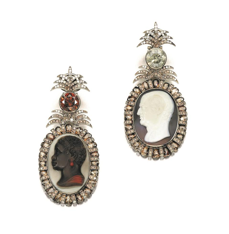 Pair of cameo and diamond earrings by Hemmerle