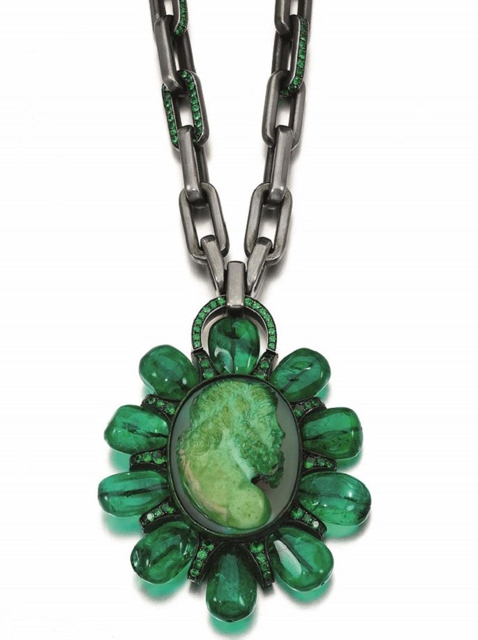 Emerald, hardstone cameo and tsavorite garnet pendant necklace by Hemmerle