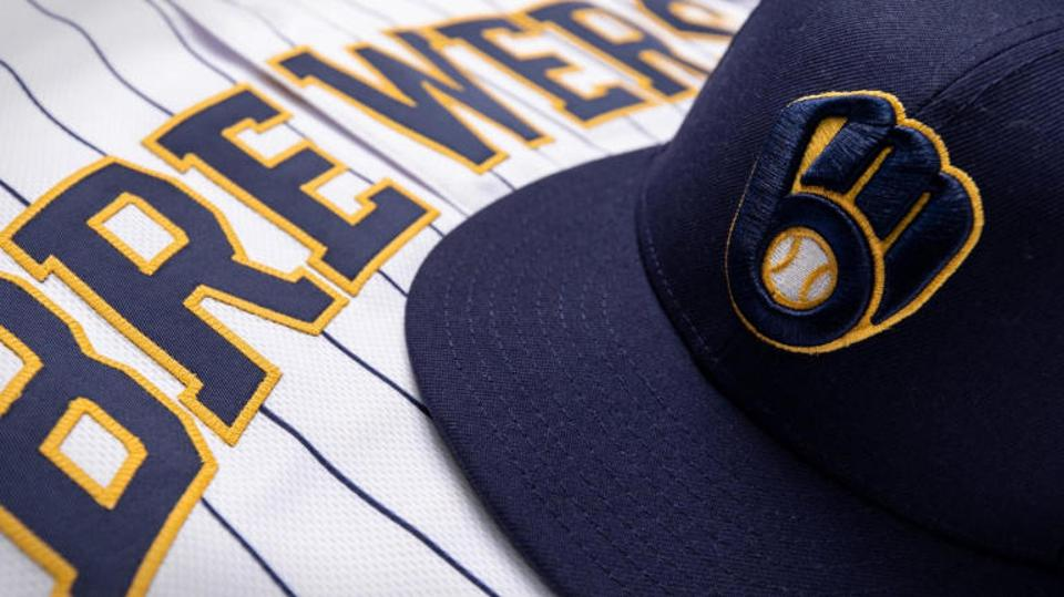 Brewers ball in glove logo and New Jersey.