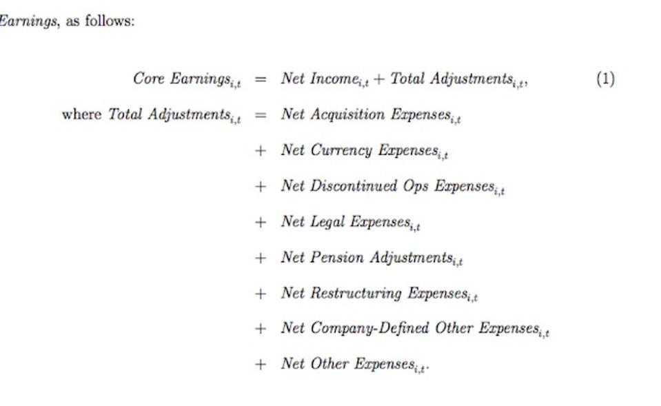 HBS & MIT Sloan Core Earnings Formula