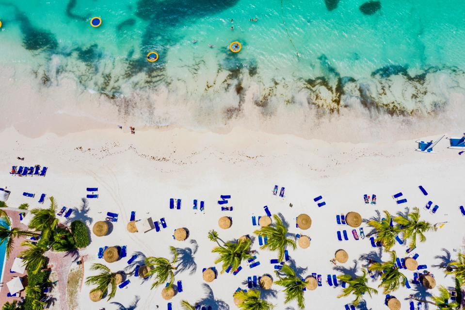White sand beach from above, Caribbean, Antilles