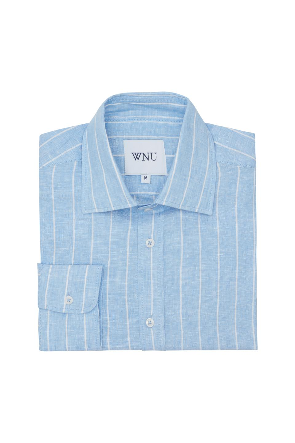Blue and white stripe linen shirt by WNU