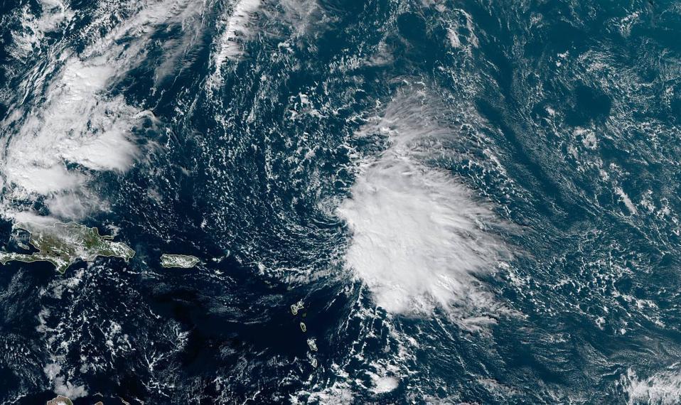 A visible satellite image of Tropical Storm Sebastien on November 19, 2019.