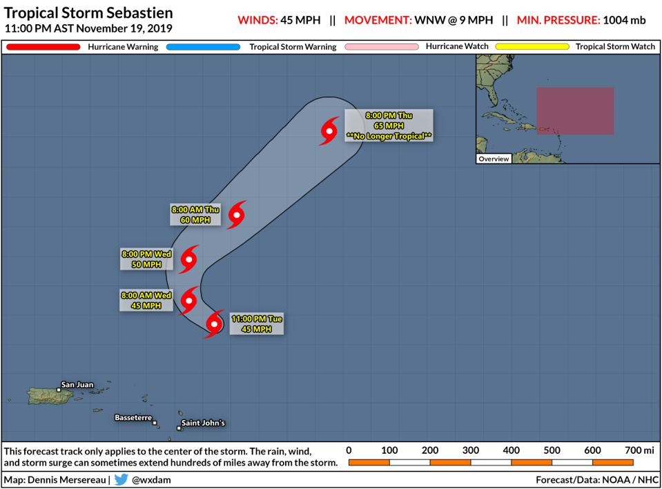 The NHC's forecast for Tropical Storm Sebastien at 11PM AST on November 19, 2019.
