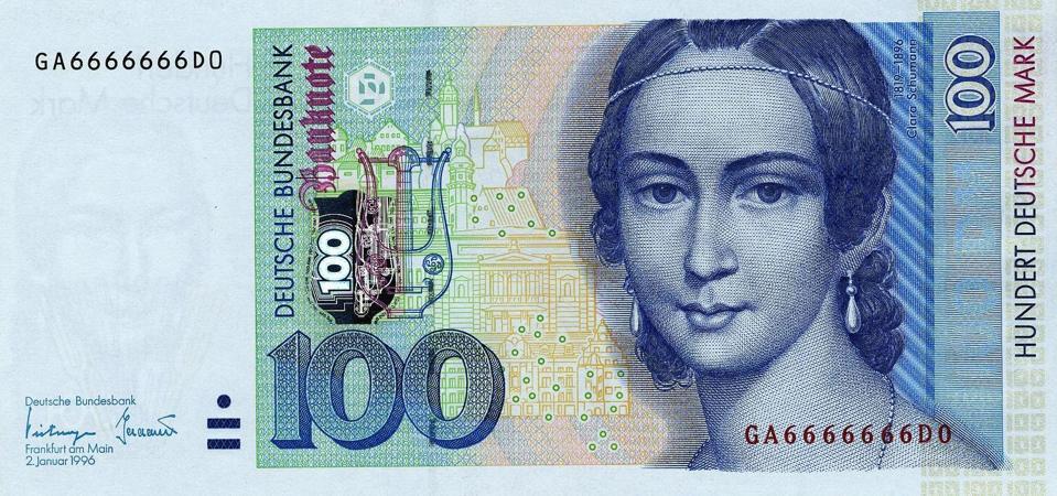 Clara Schumann 100 Deutsche Mark banknote