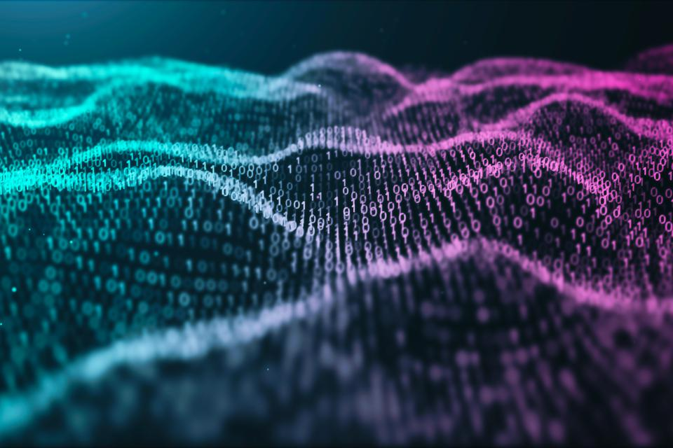 3D illustration Rendering of binary code pattern.Futuristic Particles digital Landscape wave Abstract background for business,Science and technology