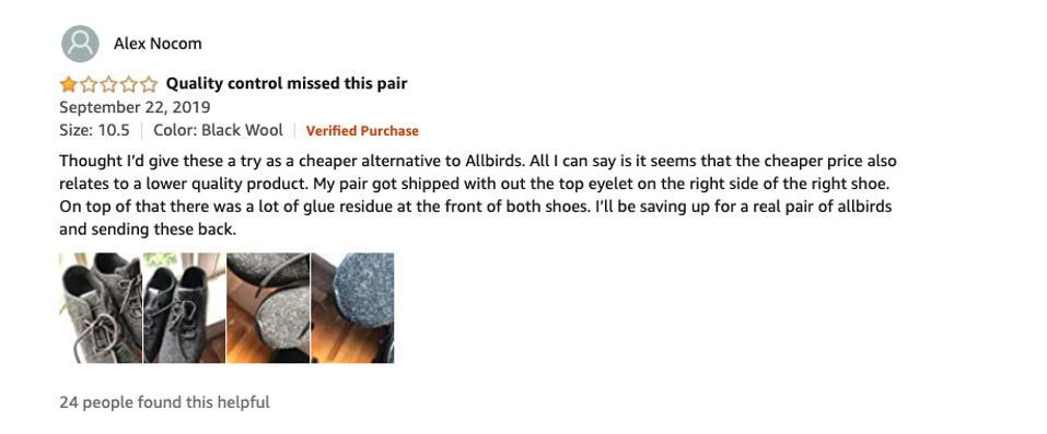 Amazon review of Allbirds shoe