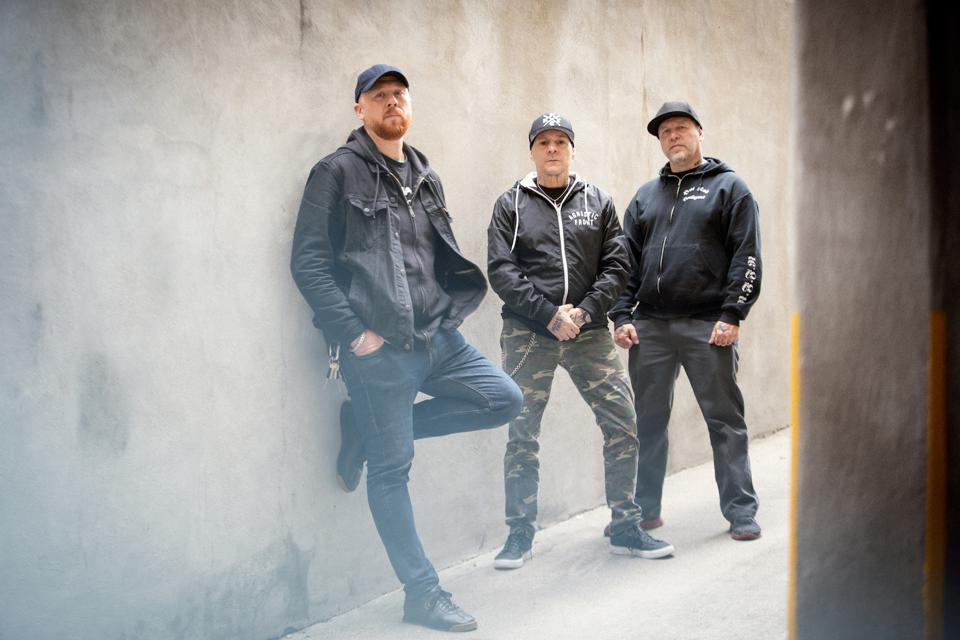 Pictured left to right, Ian McFarland (director), Vinnie Stigma (Agnostic Front Guitar), Roger Miret (Agnostic Front Vocals).