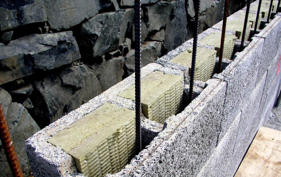 This is a Durisol Wall before the concrete is poured. These blocks consist of recycled waste wood bonded with cement.