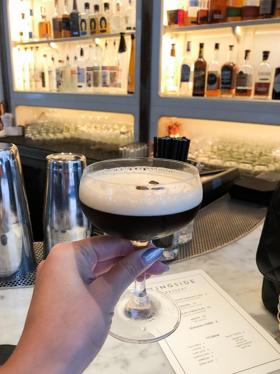 NEW YORK, NY - An espresso martini at Kingside at the Le Méridien Central Park