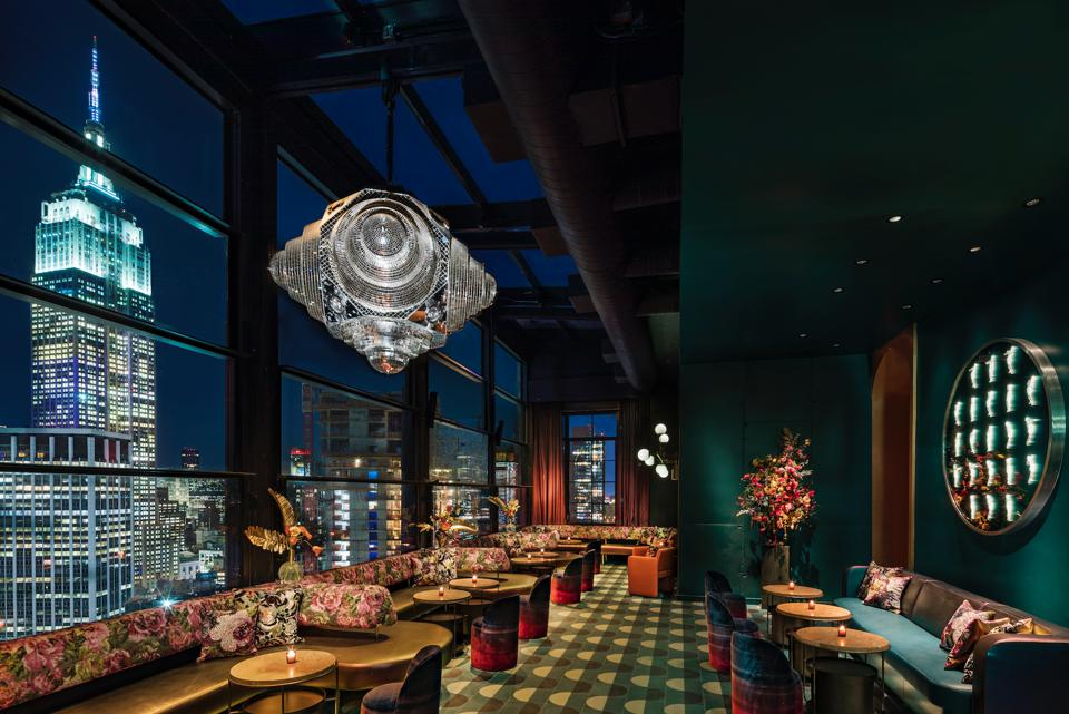 NEW YORK, NY - View of the North side of the Fleur Room at the Moxy Chelsea