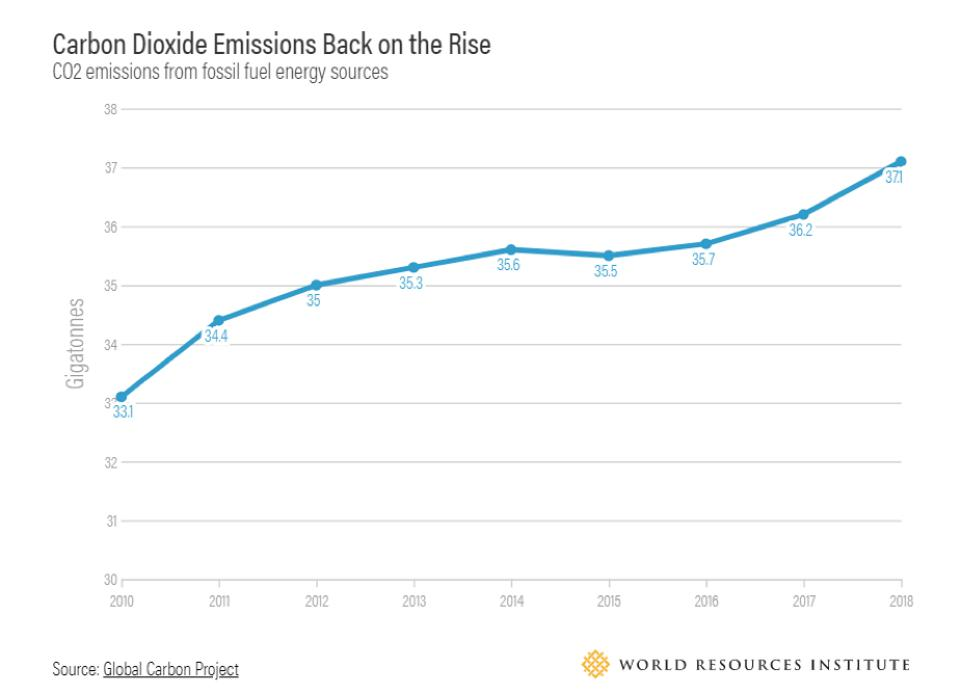 Global carbon emissions from fossil fuels are on the rise.