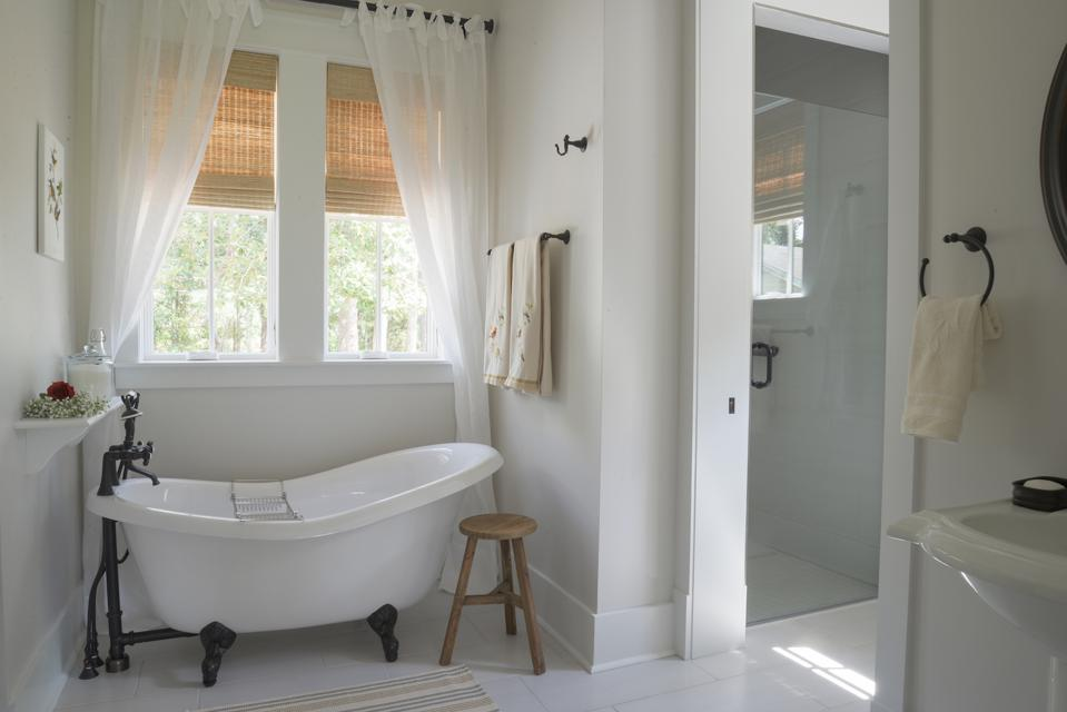 This curbless shower is in the Longleaf house in St. Johns, Florida.