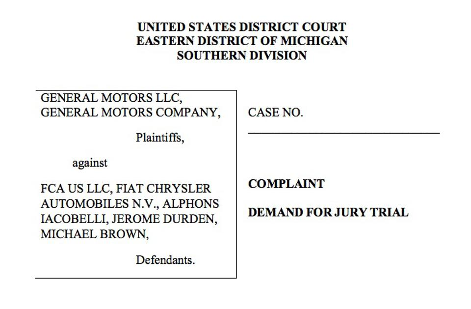 The suite was filed November 20, 2019 in U.S. District Court in Detroit.