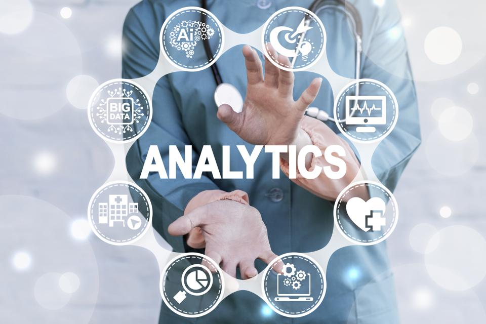 Analysis Data Smart Health Care. Doctor offers analytics word icon on virtual screen. Medical information technology analysis.
