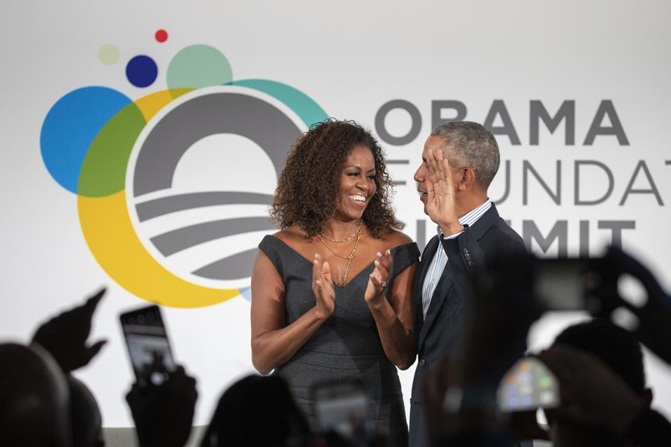 Obama Foundation Summit 2019 opening with Michelle and Barack Obama.