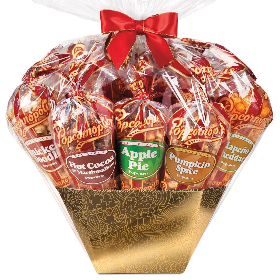 Popcornopolis Metallic Gold 12-Cone Gift Basket