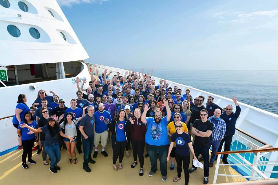 1Password employees on cruise.