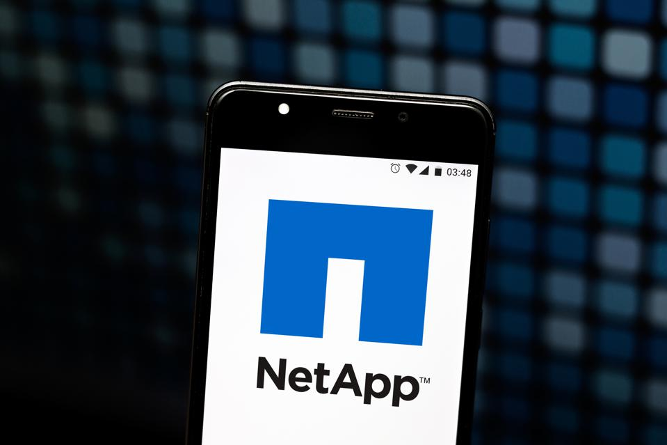In this photo illustration the NetApp logo is seen displayed...