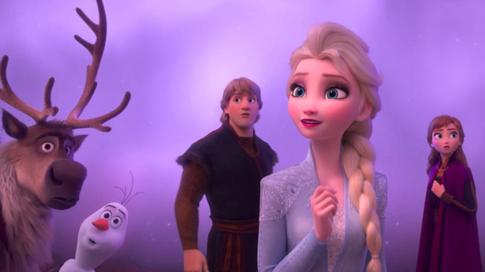 Sven, Olaf, Kristoff, Elsa, and Anna  in Disney's ″Frozen 2″