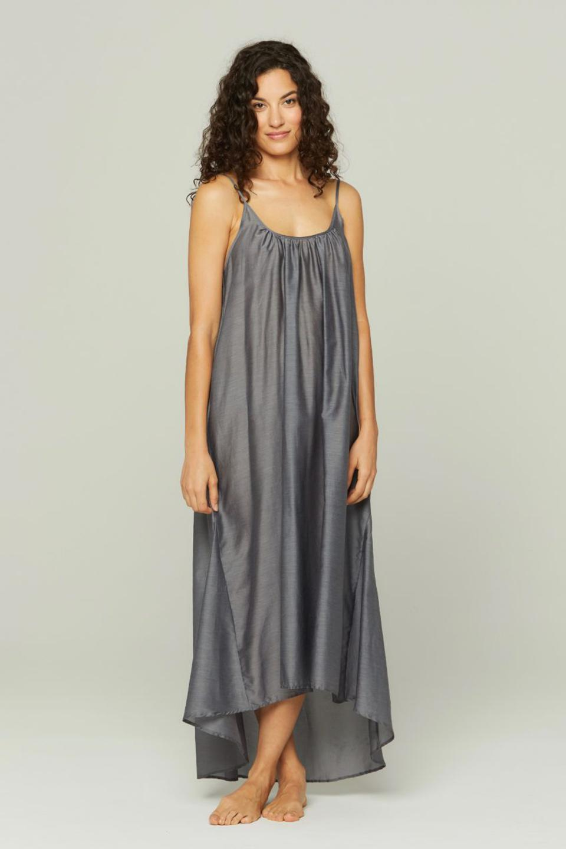 Gray Cotton HIgh Low Dress by Pour Les Femmes