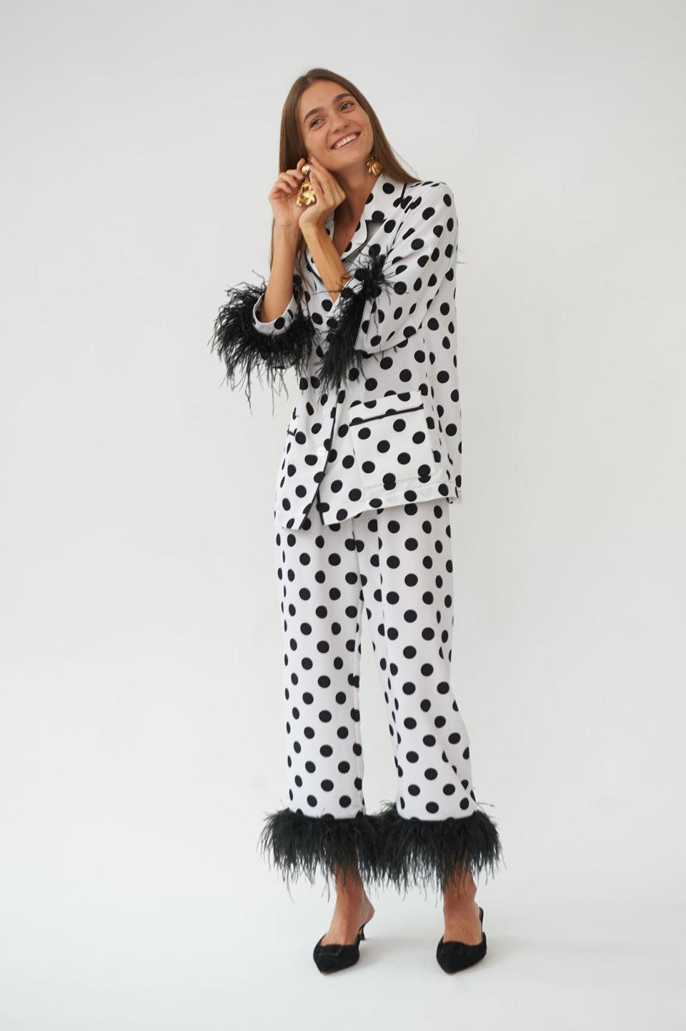 Black and White Party Pajama Set with Feathers in Polka Dot by Sleeper