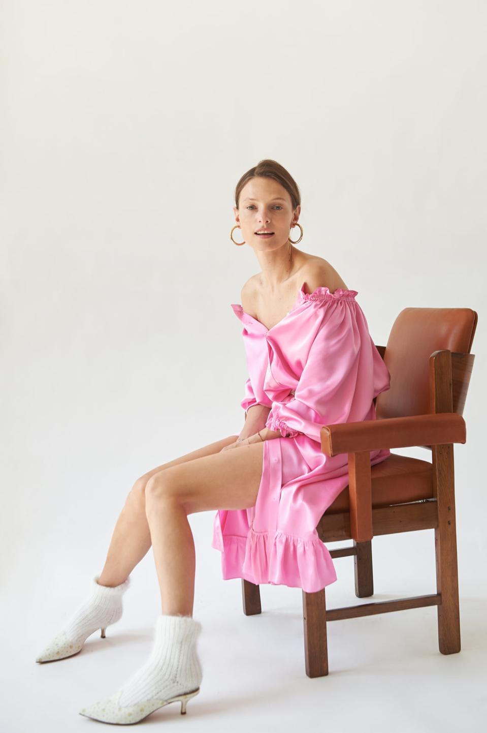 Zephyr Pink Silk Loungewear Dress by Sleeper