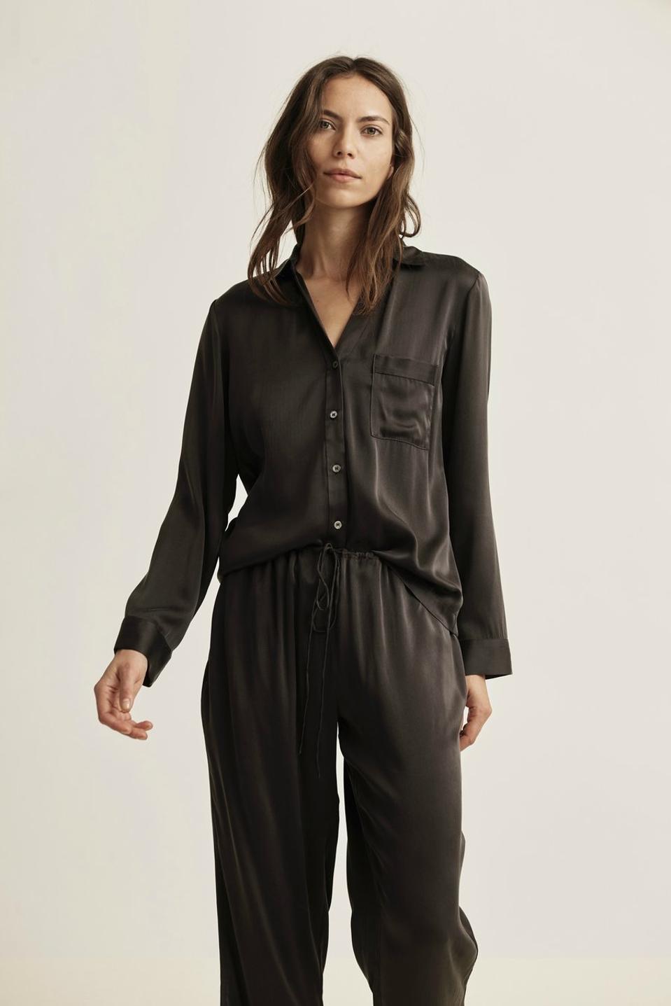 Black Silk Teresa Pajama Top by Skin