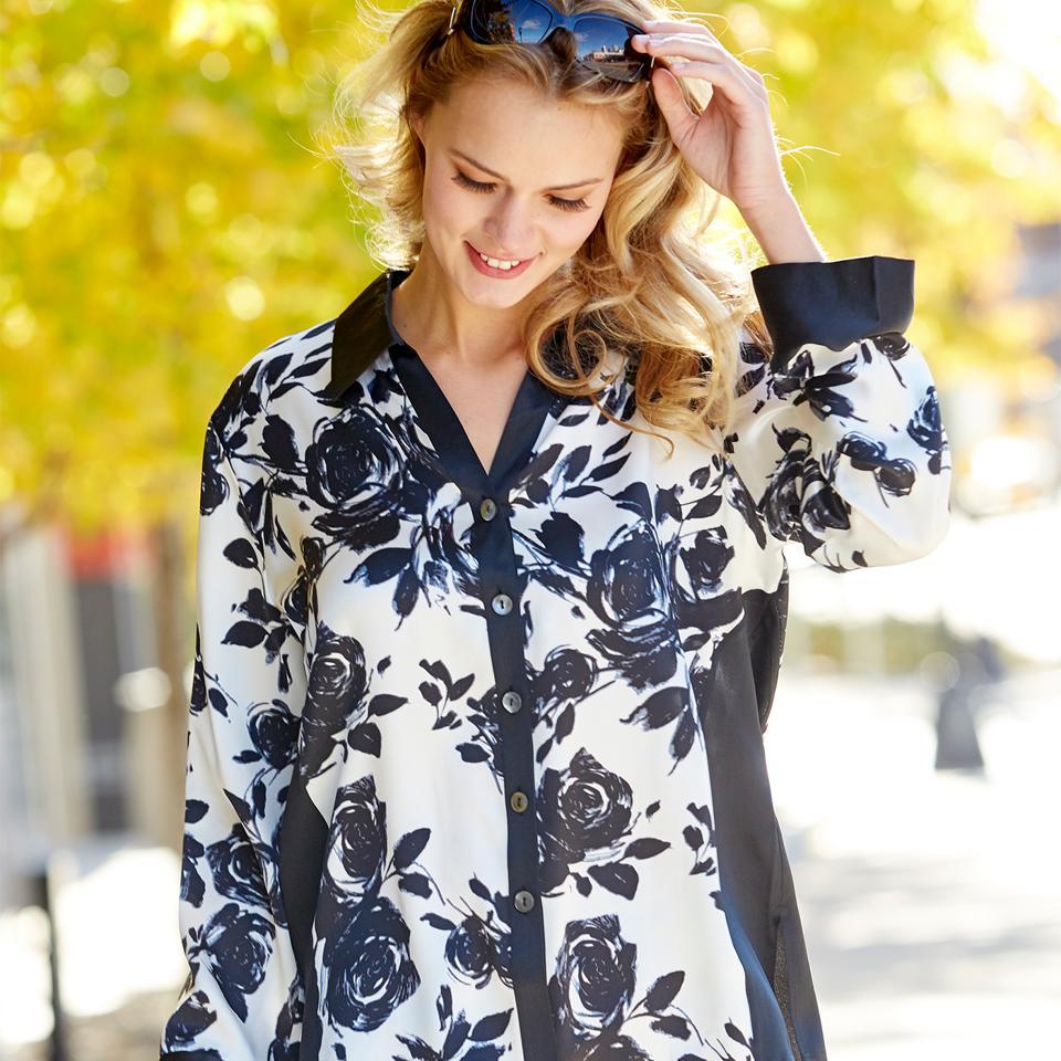 Black and White Printed Floral Silk Pajamas by Julianna Rae