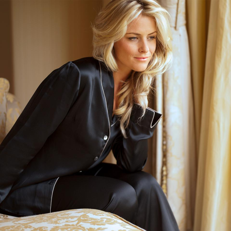 Black Silk Natalya Pajamas by Julianna Rae