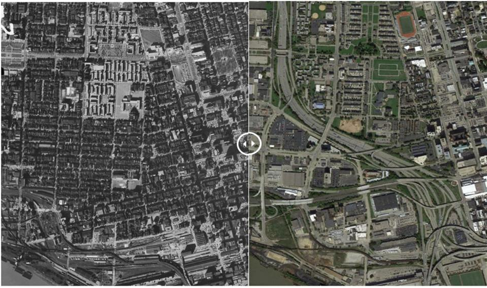Downtown Cincinatti before and after highway construction. Notice the massive density and walkability loss.