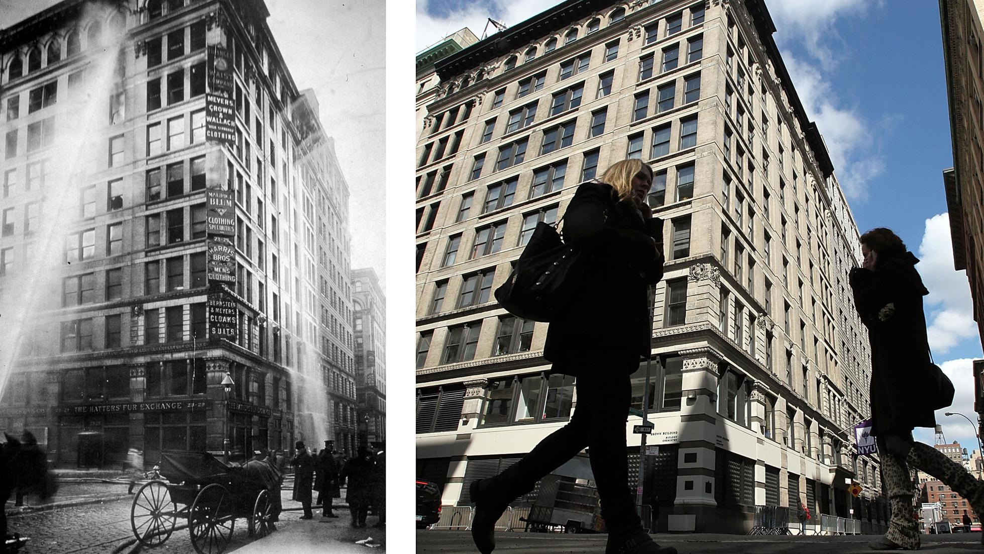 Triangle shirtwaist building in 1911 and today.