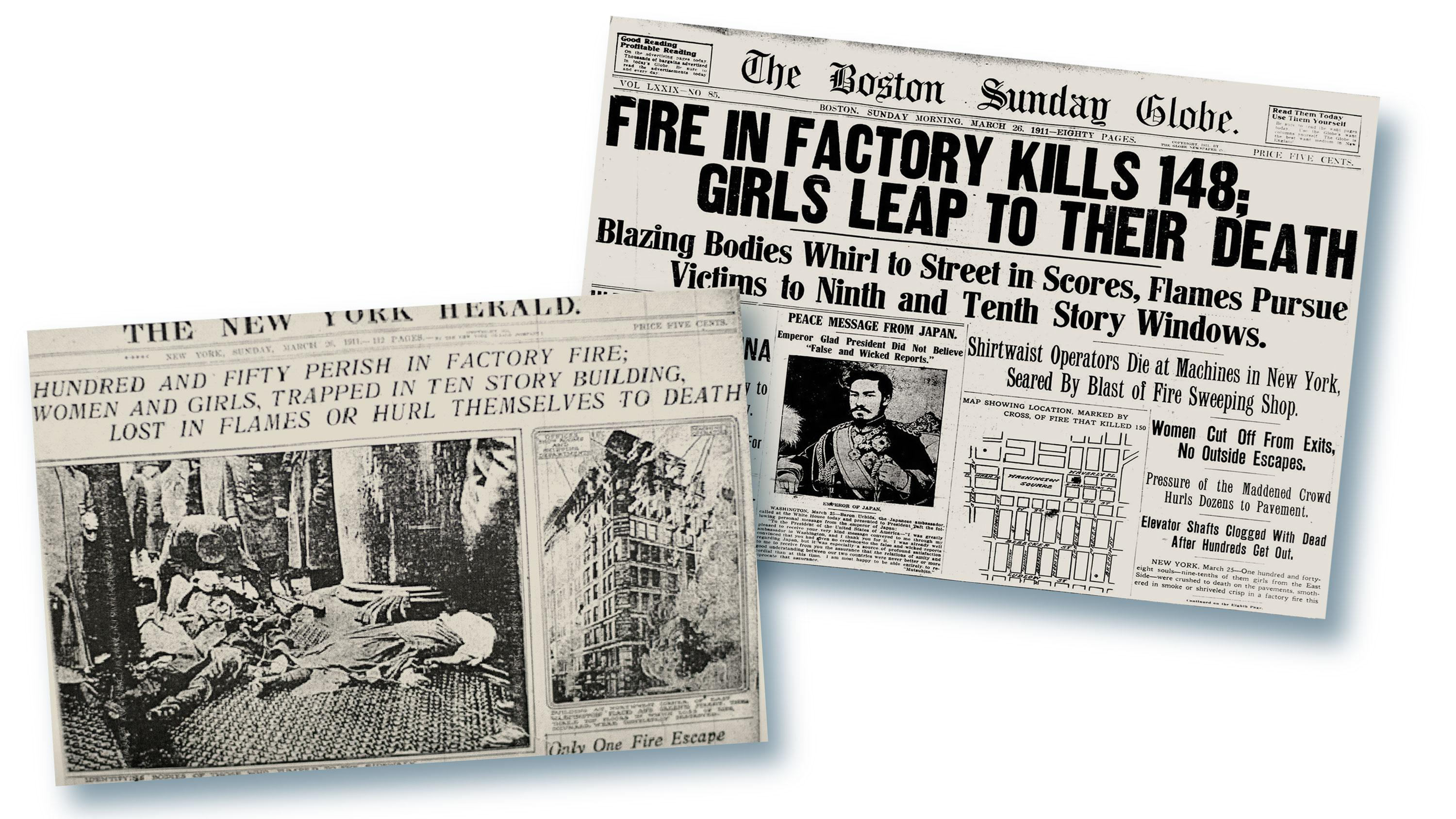 Newspaper headlines of the fire.