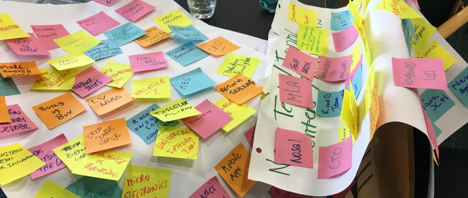Flip chart paper covered in sticky notes with ideas from brainstorming session.